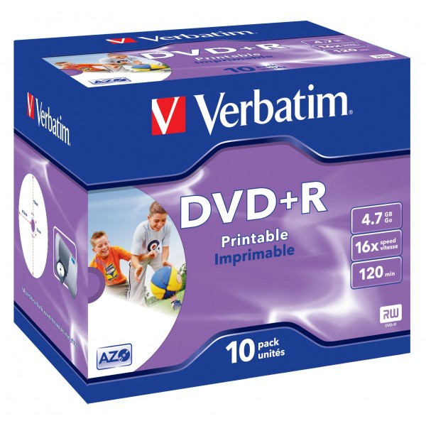 VERBATIM - 4.7GB DVD+R (16X) - PRINTABLE JEWEL CAS...