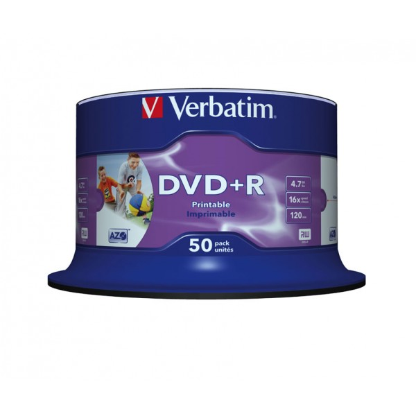 VERBATIM - 4.7GB DVD+R (16X) - PRINTABLE NO ID SPI...