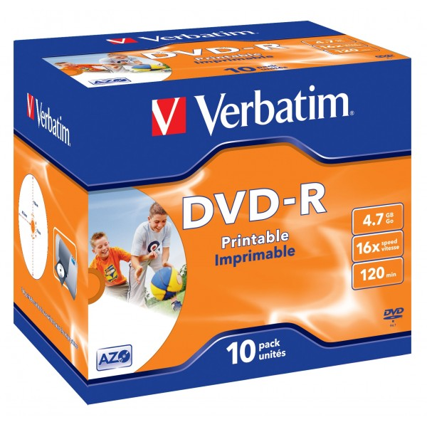 VERBATIM - 4.7GB DVD-R (16X) - PRINTABLE JEWEL CAS...