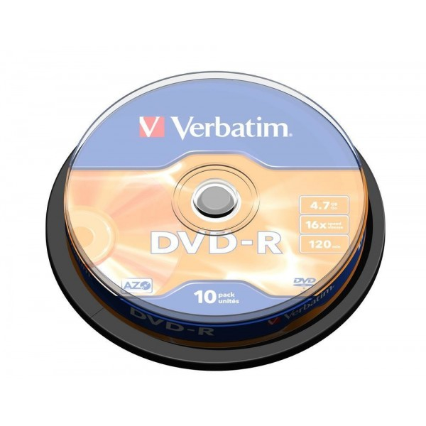 VERBATIM - 4.7GB DVD-R (16X) - MATT SILVER SPINDLE...