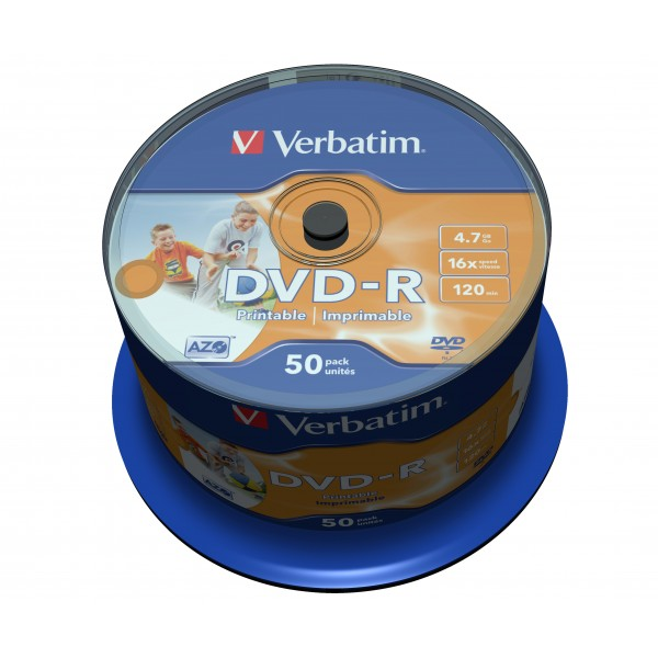 VERBATIM - 4.7GB DVD-R (16X) - PRINTABLE SPINDLE (...