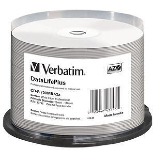 VERBATIM - 700MB - CD-R (52X) - PROFESSIONAL WIDE ...