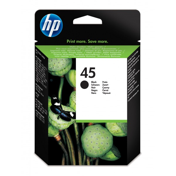 HP # 45 LARGE BLACK INKJET PRINT CARTRIDGE/ DESKJE...