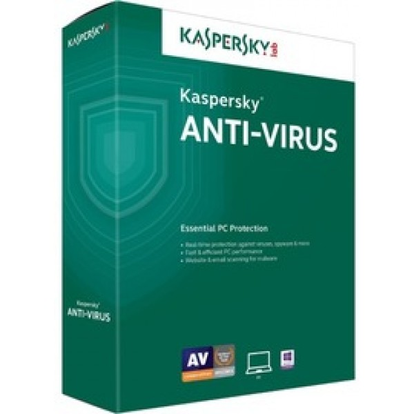 Kaspersky Anti-Virus 2018 2 User 1 Year DVD ENG ( ...