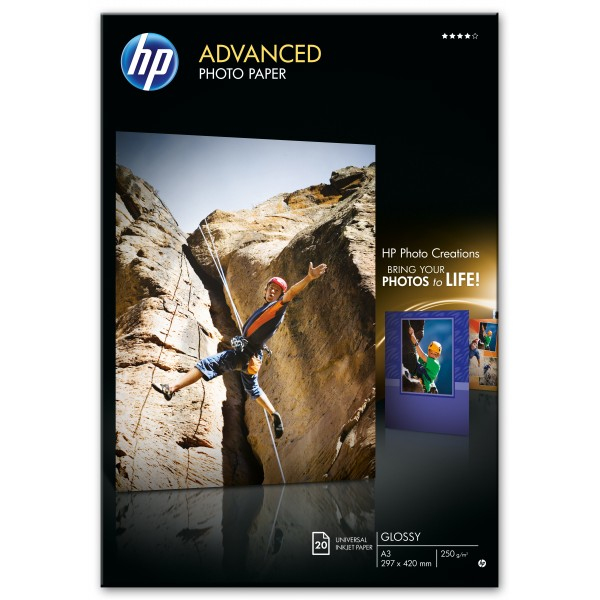 HP ADVANCED GLOSSY PHOTO PAPER 250 G/M -20 SHT/A3/...