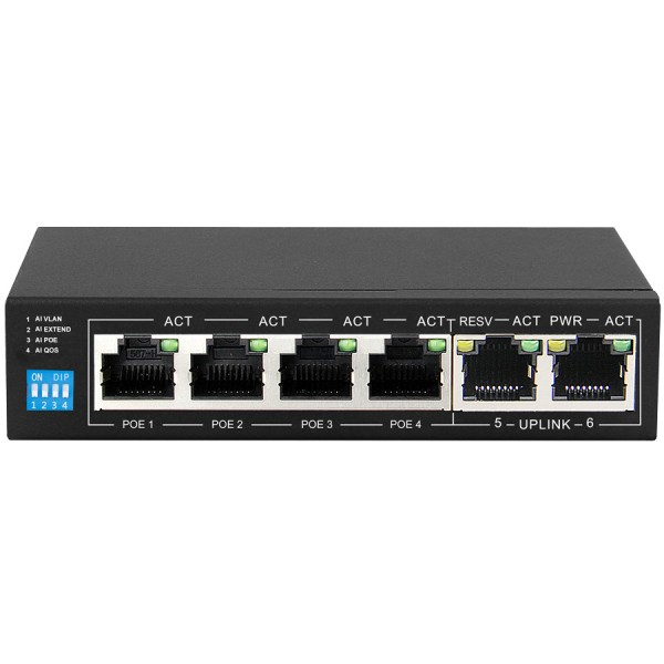 Scoop 6 Port Fast Ethernet Switch with 4 AI PoE Po...