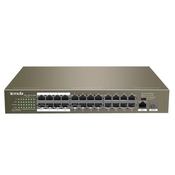 Tenda 24 Port Ethernet Switch with 24 Port PoE   T...