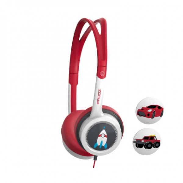 ZAGG LITTLE ROCKERZ HEADPHONES - RED AND BLACK ROCKETSHIP/TRUCK/CAR