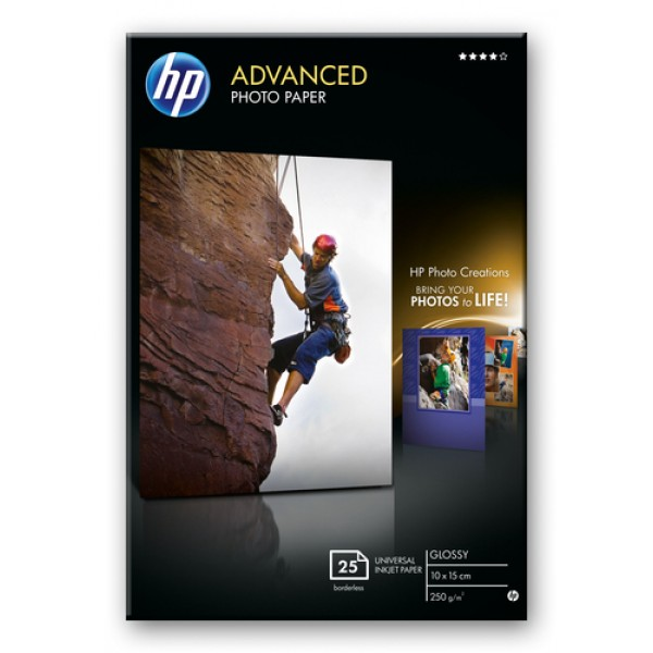 HP ADVANCED GLOSSY PHOTO PAPER 250 G/M -25 SHT/10 ...